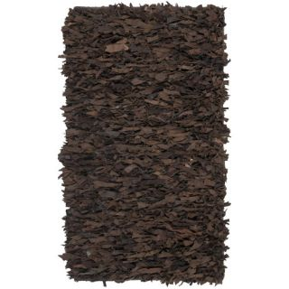 Safavieh Leather Shag Dark Brown Rug