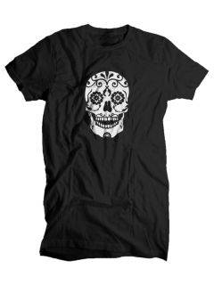 Mens Womens Day of The Dead Sugar Skull Death Goth Gun Hipster T Shirt Top Tee