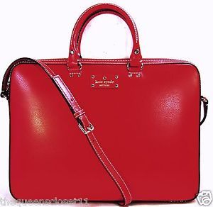 Kate Spade Tanner Wellesley Computer Laptop Bag Brief Case $448 Geranium Red
