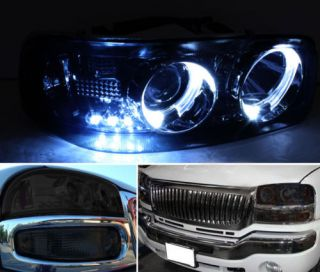 Smoked 04 06 GMC Sierra Halo Projector Headlights Lights LED Tail Head Lights