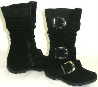Cute Girls Kids Tall 3 Buckle Suede Flat Boots Warm Knit Top Black Toddler Youth