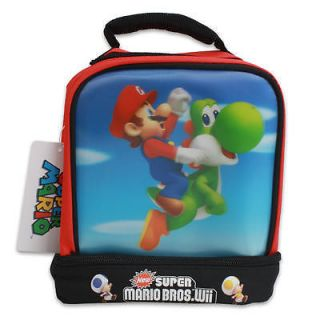 Super Mario Bros Yoshi Lunchbag Lunch Box Tote Bag Double Compartment Wii New