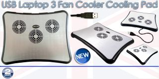 High Speed USB 3 Quiet Fans Aluminum Cooling Cooler Pad Tray for Laptop Notebook