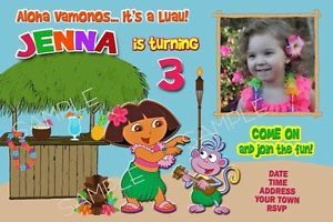 Dora The Explorer Luau Birthday Party Invitation Printable