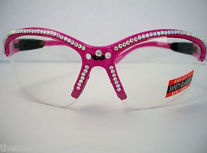 Bling Pink Shooting Safety Range Glasses Womens Hot Pink AB Rhinestones Case