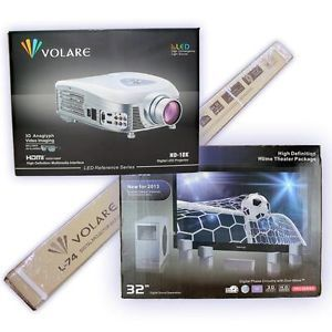 Volare HD 18K LED Projector Screen and 5 1 Home Theatre Speakers Bundle