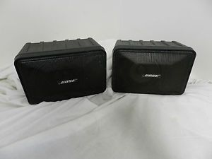 2 Bose Model 101 Music Monitor Indoor Outdoor Speakers Black Good Used Condition
