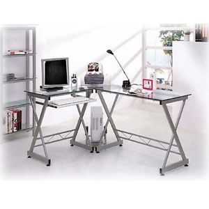 Deluxe Ergonomic L Shaped Computer Desk Workstation Clear Tempered Glass