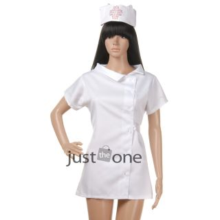 Hot Sexy Women White Nurse Costume Cosplay Dress Hat G String Nightwear
