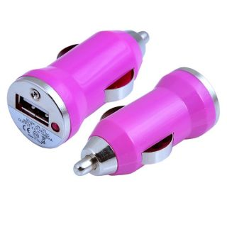 For iPhone iPad 12V Hot Pink Mini in Car USB Charger Cigarette Lighter Adapter