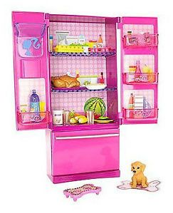 Barbie Treats Food Glam Fridge Accessories Pet Puppy Dog New