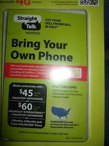 New Straight Talk Micro Sim Card for at T Compatible Phones iPhone Precut