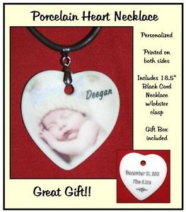 Personalized Porcelain Photo Heart Necklace 2 Side Printing Any Photo Message