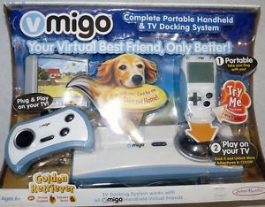 New Vmigo Virtual Pet Golden Retriever Complete Portable TV Docking System