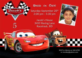 Disney Cars Printable Birthday Party Invitation Cards