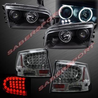 06 08 Dodge Charger CCFL Halo Projector Headlights w LED Smoke Tail Lights