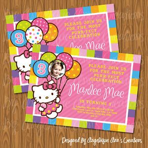 Hello Kitty DIY Printable Birthday Photo Invitations