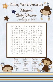 24 Personalized Cocalo Monkey Mania Baby Shower Word Search Game Cards Stars