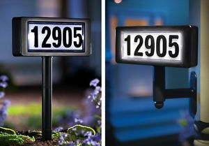 Solar Powered Home Address Sign Yard Stake