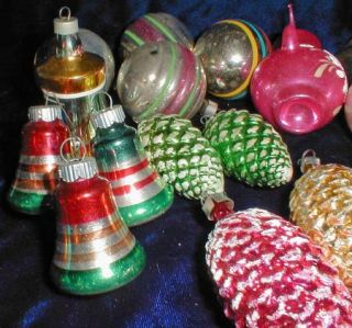 Vintage Glass Bells Teapot Balls Pinecone Celluloid Christmas Tree Ornaments