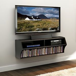 Altus Black Wall Mount TV Stand Media A V Console Storage Center PP HHH1969