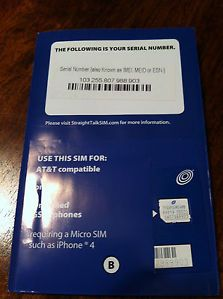 1 Straight Talk Micro Sim Card for at T iPhone 4 4S Unlocked GSM Phones