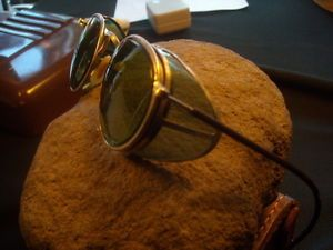 Goggles Vtg Steampunk Motorcycle Bausch Lomb WWII Antique Safety Sun Glasses