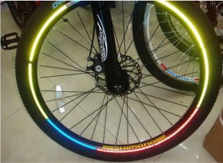 5X Fluorescent MTB Bike Bicycle Cycling Wheel Rim Stickers Reflective Decal Tape