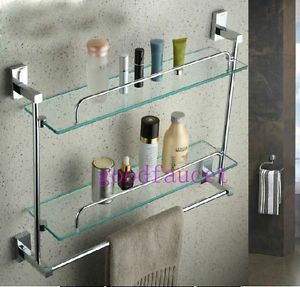 Wall Mounted Chrome Bath Shelves Shower Caddy Cosmetic 2 Glass Shelf w Towel Bar