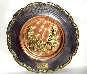 Peruvian Copper Brass Deco Plate Couple with A Llama Wall Hanging Folk Art