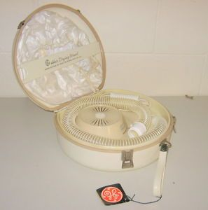 Vtg GE Deluxe Portable Hair Dryer w Travel Case Bonnet Cap General Electric