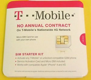 T Mobile Micro Sim Card Activation Starter Kit iPhone 4 4S Android New