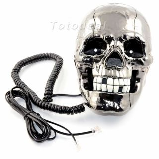 Punk Gothic Skull Shape Flashing Novelty Home Phone Wired Telephone