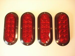 4 Red 10 LED Oval Trailer Truck Stop Turn Brake Tail Light Screw Surface Mount