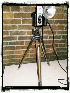 Antique Repurposed Argus 75 Camera Lamp Wood Tripod Industrial Steampunk Light