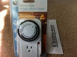 New RTH Heavy Duty Indoor 24 Hour Mechanical Electric Timers 769364 Set 15min
