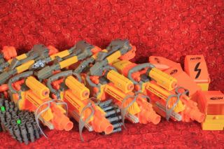 Nerf Vulcan Lot of 4 Complete Tripods Ammo Boxes Chains Glasses Sights