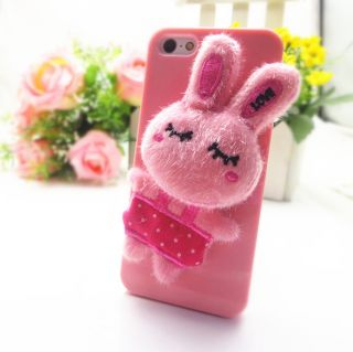 Pink Cotton Lovely Soft Puzzled Eye Rabbit Bunny Warm Case Cover for iPhone 5 5S