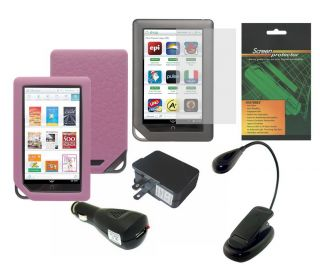 Pink Case Book Light Charger Adapter for Barnes Noble Nook Color WiFi Tablet