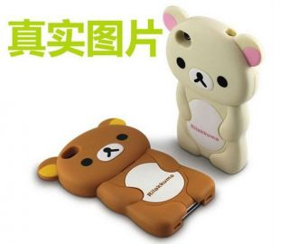 New Cute 3D Silicone Teddy Bear Soft Case Cover for iPhone 4 4G 4S Brown