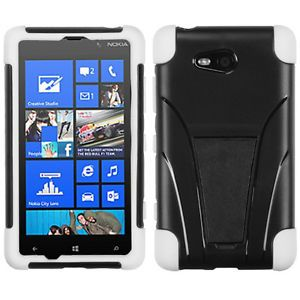 For for Nokia Lumia 820 Windows 8 Phone Black White Heavy Duty Case Cover Stand