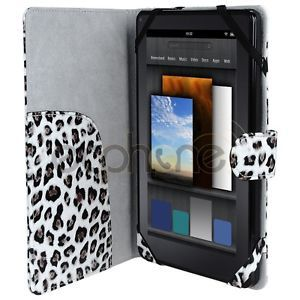Leather Folio Case Leopard Print for  Kindle Fire Tablet 7 Inch