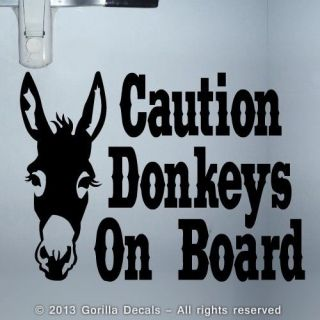 Donkeys on Board Caution Trailer Door Decal Sticker Horse Sign Black White Pink