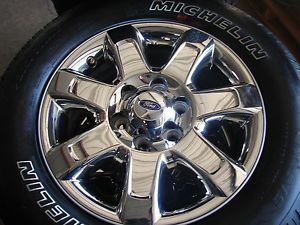 "4 2013 18"" Ford F 150 Alloy Chrome Wheels Rims with Michelin Tires"