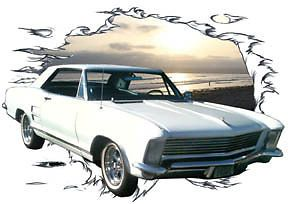 1964 White Buick Riviera Custom Hot Rod Sun Set T Shirt 64 Muscle Car Tee'S