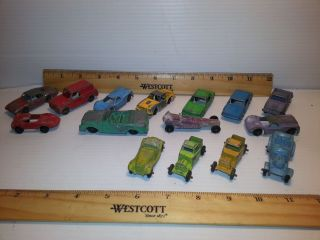 Vintage Tootsie Toy Lot of 15 Vehicles Fire Muscle Cars Hot Rods Jalopies