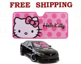 Sanrio Pink Polka Dots Hello Kitty Car Truck Front Windshield Folding Sun Shade