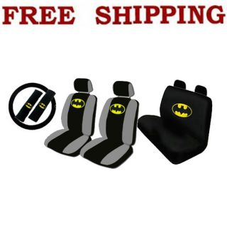 New Set Batman The Dark Knight Car Front Rear Seat Covers Steering Wheel Cover