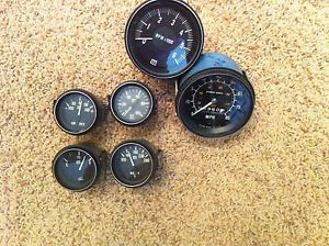Vintage SW Stewart Warner Gauge Set Oil Water Volts Speedo Tach RPM Hot Rod Rat