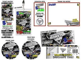 Monster Jam Truck VIP Birthday Party Invitations Favors